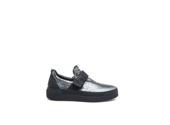 Metallic steel velcro slip-on shoes