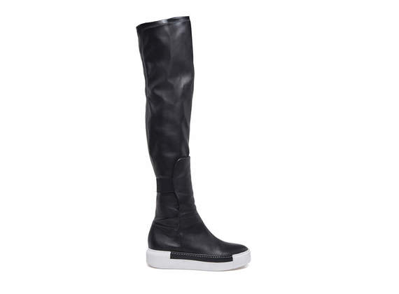 Over the knee boots with rubber contrast sole
