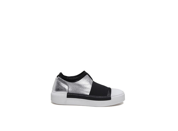 Slip-on shoes with elastic and silver leather