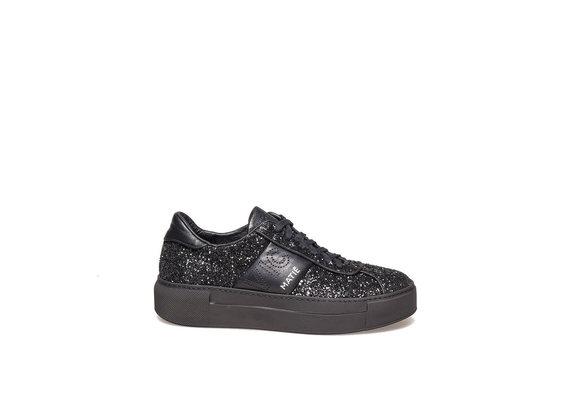 Chaussure lacée en glitter et cuir black