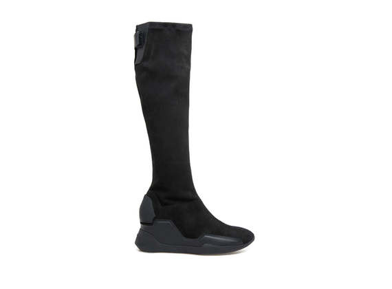 Stretch suede boots with rubber appliqué