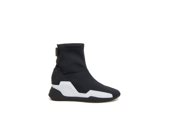 Stretch neoprene ankle boots with rubber appliqué - Black / White