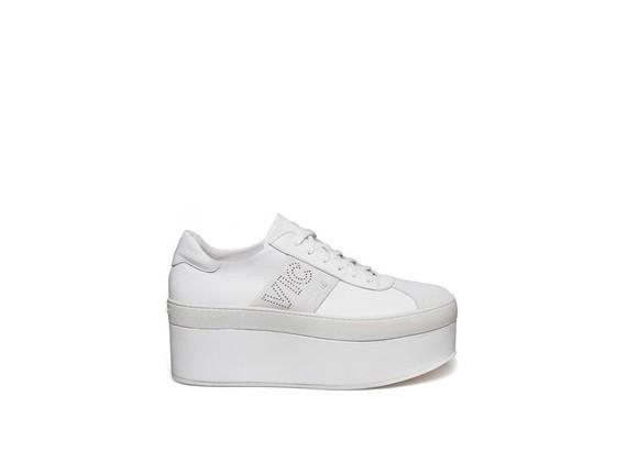 Chaussure lacée sur platform cuir et suède off-white