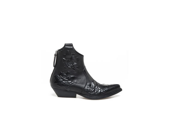 Black Texan booties with embossed roses