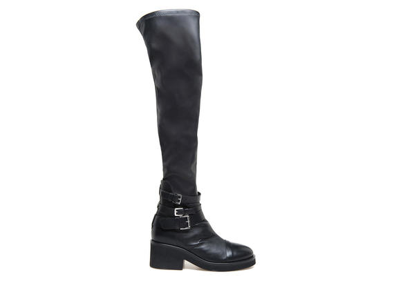 Over the knee stretch boots with buckles