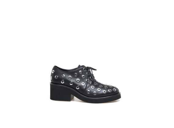 Black Derby shoes with eyelets - Black