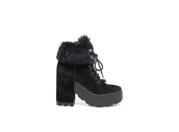 Black suede lace-up ankle boots with rabbit fur