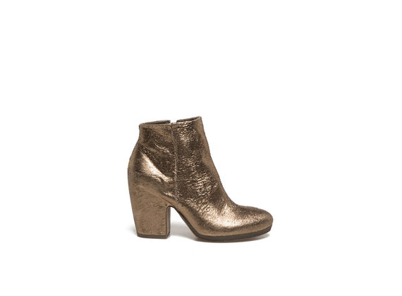 Metallic gold-coloured leather ankle boots