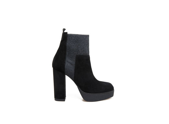 Black suede ankle boots with elastic and crepe plateau effect