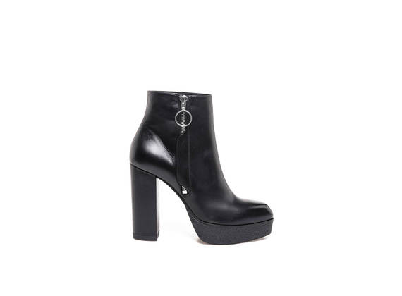 Black leather ankle boots with side zip