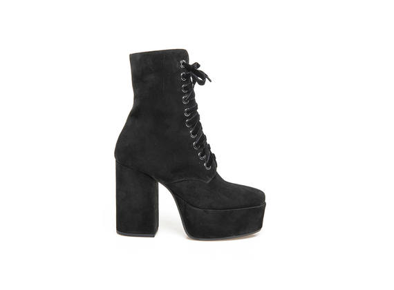 Black suede lace-up ankle boots with maxi plateau and heel