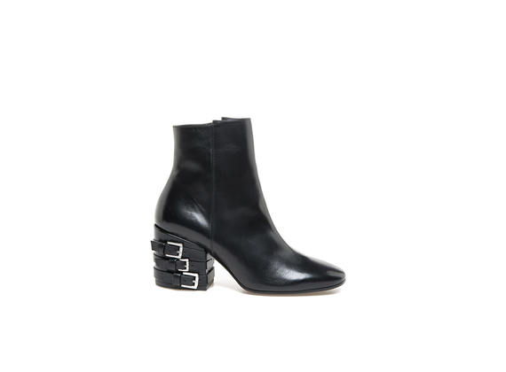 Square-toed bootie with heel buckle