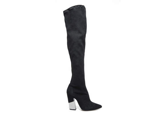 Pointed toe boots in stretch suede with partially-covered metallic heel