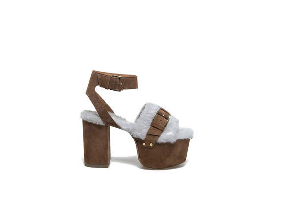 Sheepskin sandals with maxi plateau and heel