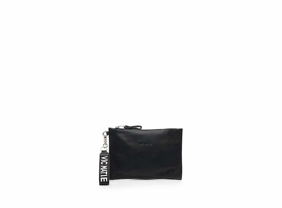 Madeline black nappa leather clutch bag