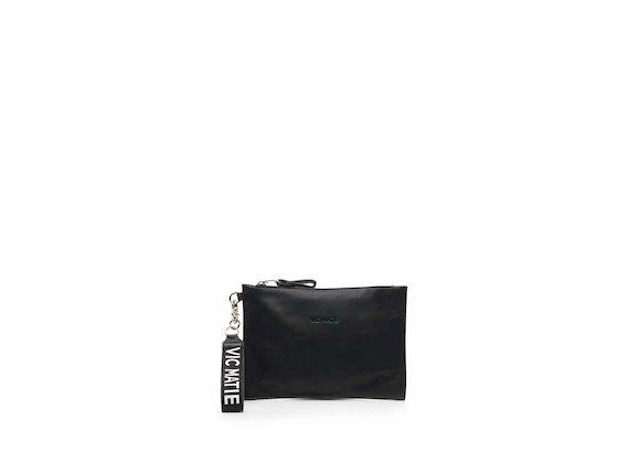 Madeline black nappa leather clutch bag
