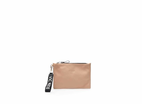 Madeline nude nappa leather clutch