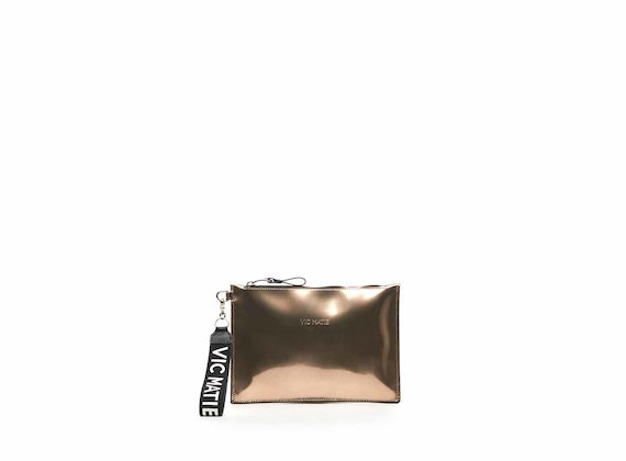 Madeline rose gold mirrored leather clutch