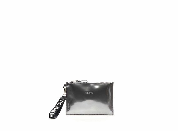 Madeline silver mirrored leather clutch
