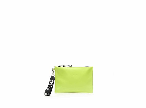 Madeline neon yellow nappa leather clutch