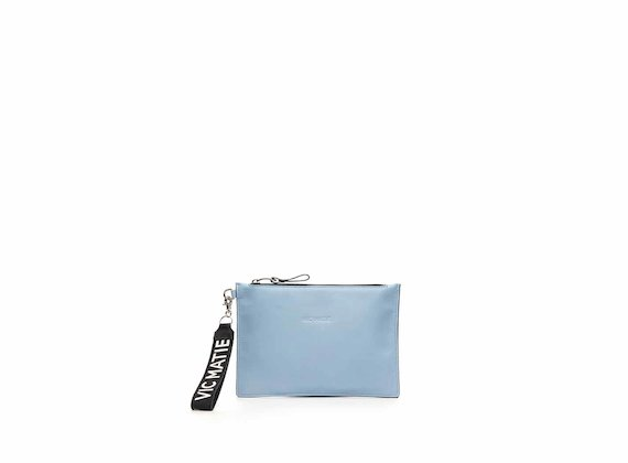 Madeline powder blue mirrored leather clutch