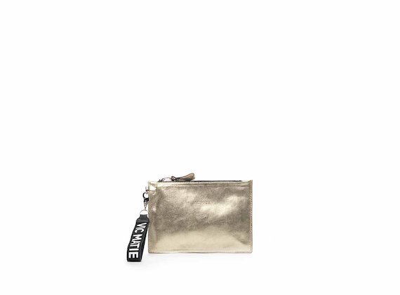 Madeline gold nappa leather clutch - Laminated Platinum