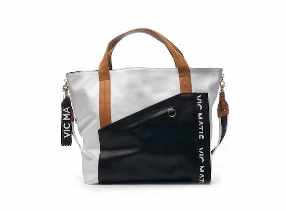 Sandy colour block shopper bag with asymmetrical pocket - White / Black