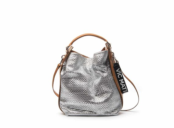 Frida silver bucket bag with braided leather