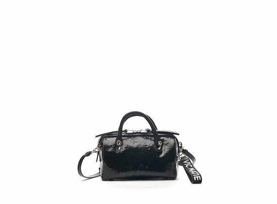 Peggy crackled leather mini bowler bag