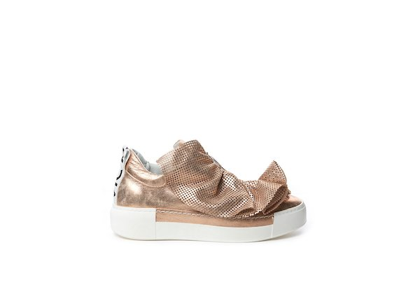 Laminated leather slip-on with perforated ruffles
