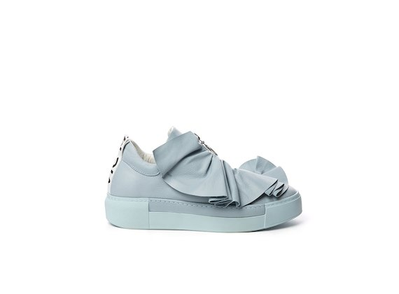 Sky blue leather sneaker with ruches