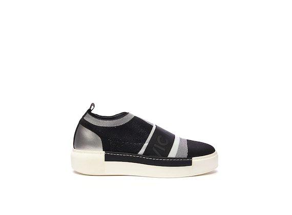 Slip-on calza a blocchi di colore ed elastico nero/bianco