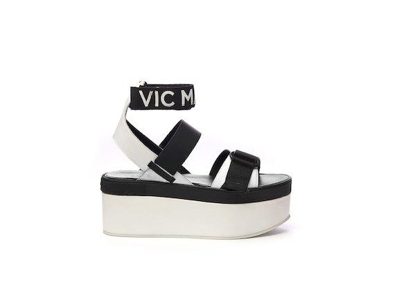Sandales avec velcro et brides de cheville avec logo et semelles flatform