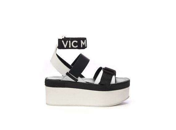 Flatform sandal with Velcro and ankle strap with logo - White / Black