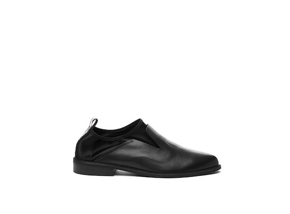 Leather and stretch satin slip-on shoe