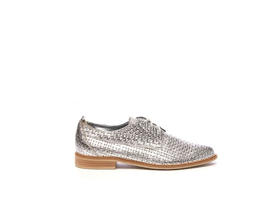 Silver braided leather Derby shoe