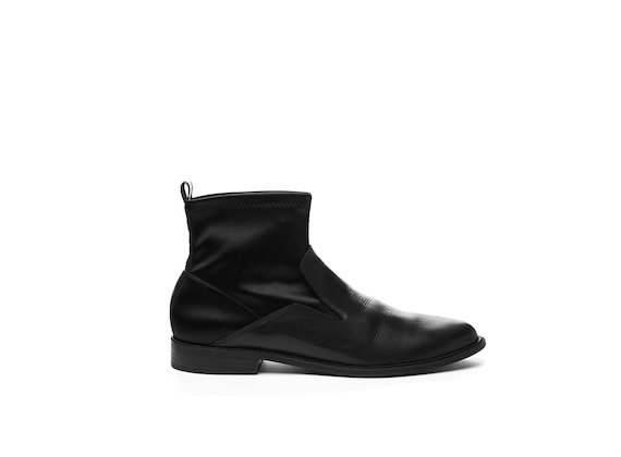 Leather and stretch satin half boot