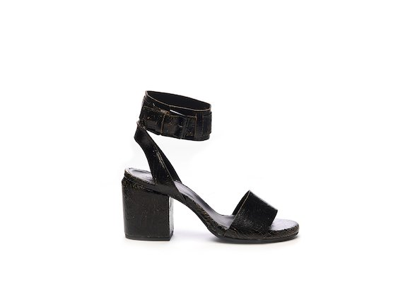 Crackled leather sandal with ankle strap
