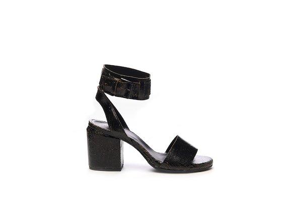 Crackled leather sandal with ankle strap - Black