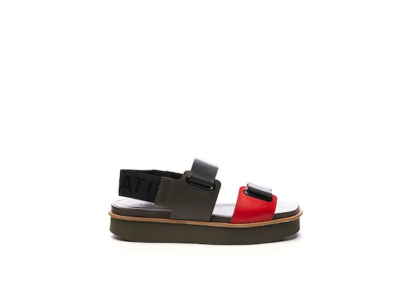 Sandal with red and military green Velcro and eyelets