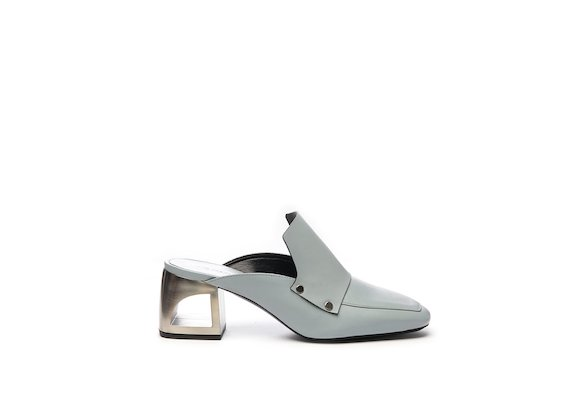 Powder blue slipper with hole heel