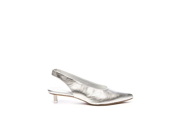 Silver leather chanel-style shoe with steel micro heel