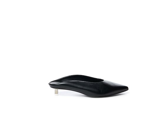 Black leather slipper and steel micro heel
