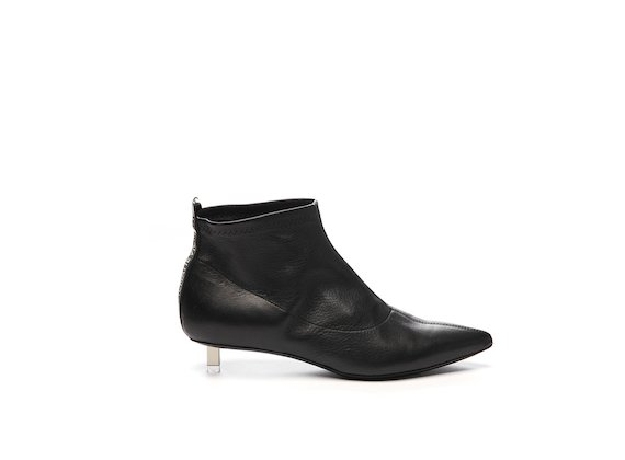 Stretch leather half boot with steel micro heel