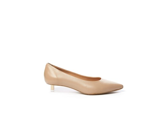 Nude leather court shoe with rose gold micro heel