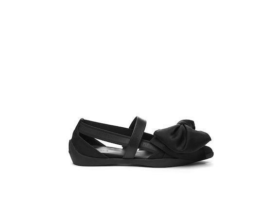 Ballerina shoe with elastic maxi bow - Black