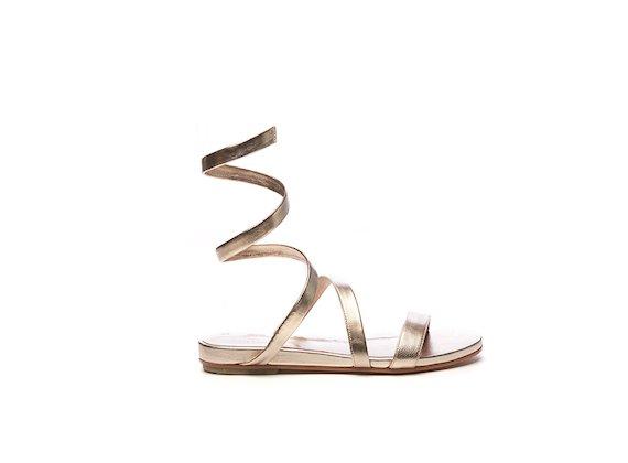 Sandalo con cavigliera serpentina color oro rosato