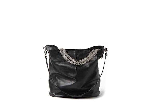Anais<br />shopper bag with metallic mesh handle