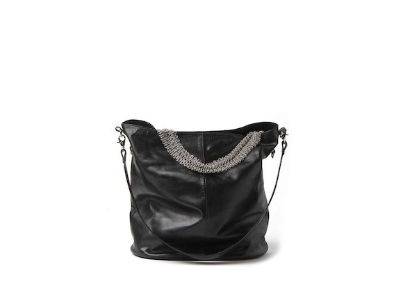 Anais<br />shopper bag with metallic mesh handle
