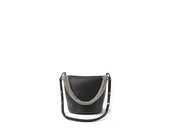 Nives<br />mini bucket bag with metallic mesh handle
